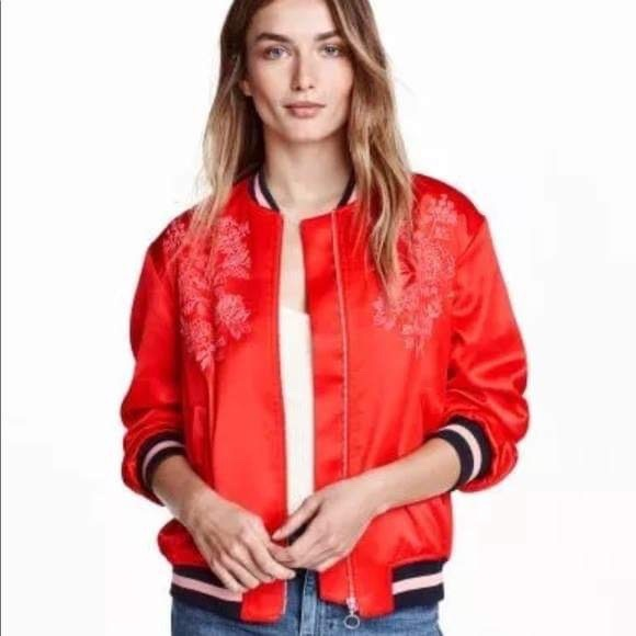 H&M Red Satin Embroidered Silk Jacket Bomber